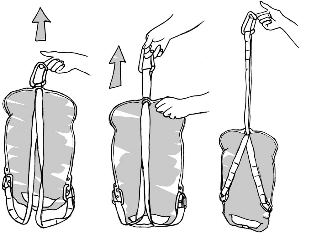 pack drawing using carabiner strap option