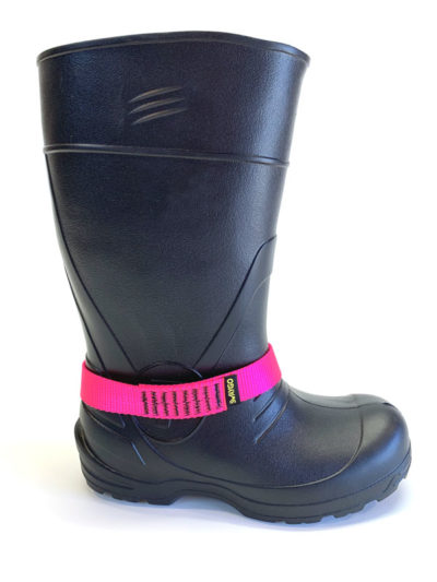 Pink Chicken loop strap on boot