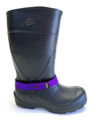 Purple Chicken loop strap on boot