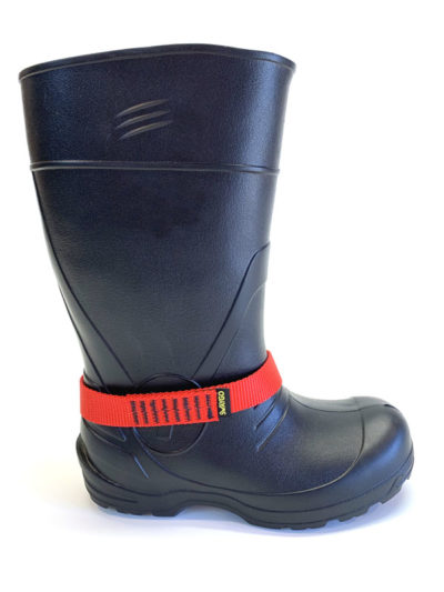 Red Chicken loop strap on boot